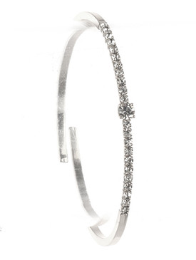 Bracelet / Pave Crystal Stone / Metal Cuff / Comfort Flex / Adjustable / 2 1/8 Inch Diameter / 1/8 Inch Tall / Nickel And Lead Compliant