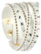 Bracelet / Multi Strand / Faux Suede Band Wraparound / Lucite Stone / Metal Stud / Snap Button Closure / Adjustable / 13 Inch Long / 3/4 Inch Tall / Nickel And Lead Compliant