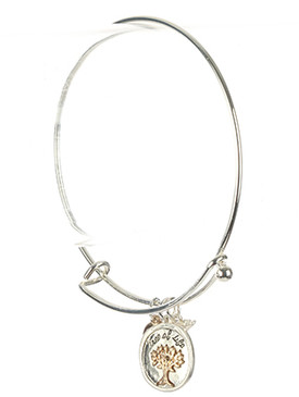 Bracelet / Matte Finish Metal / Tree Of Life Charm / Heart / Dove / Two Tone / Hook Closure / 2 5/8 Inch Diameter / 1 Inch Tall / Nickel And Lead Compliant