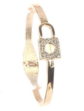 Bracelet / Pave Crystal Stone / Hinge Metal Lock / 2 3/8 Inch Diameter / 1/2 Inch Tall / Nickel And Lead Compliant
