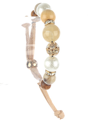 Bracelet / Chunky Natural Stone / Adjustable / Pearl Finish / Wooden / Crystal Stone / Metallic Bead / Faux Suede Strand / 2 Inch Diameter / 3/4 Inch Tall / Nickel And Lead Compliant