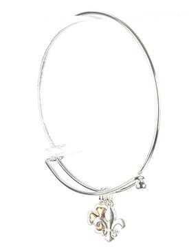 Bracelet / Metal Bearpaw Charm / Wire Bangle / Heart / Mini Pearl / Two Tone / Matte Finish / Hook Closure / 2 1/2 Inch Diameter / 5/8 Inch Drop / Nickel And Lead Compliant