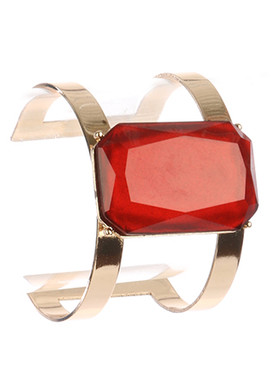 Bracelet / Emerald Cut Shimmer Stone / Layered Metal Cuff / 2 1/4 Inch Diameter / 1 2/3 Inch Tall / Nickel And Lead Compliant