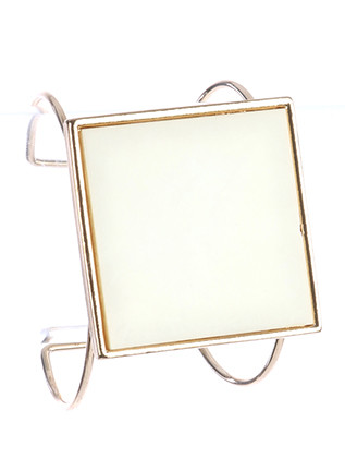 Bracelet / Square Glass Stone / Metal Wire Cuff / 2 1/2 Inch Diameter / 2 Inch Tall / Nickel And Lead Compliant