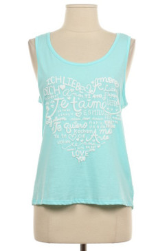 Love In Any Language Puff Print Tank Top