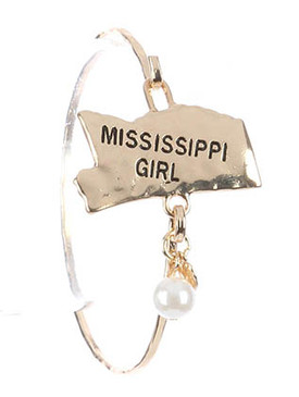 Bracelet / State Of Mississippi / Hammered Metal Bangle / Heart / Pearl Charm / Mississippi Girl / Hook Closure / 2 1/2 Inch Diameter / 1 1/4 Inch Tall / Nickel And Lead Compliant