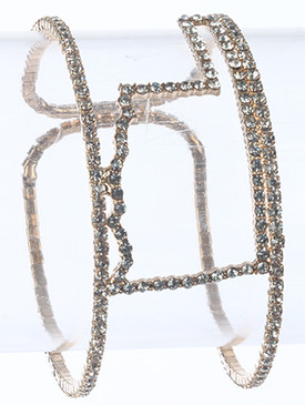 Bracelet / Pave Crystal Stone / State Of Oklahoma Cuff / Double Layer / Metal Coil / 2 1/8 Inch Diameter / 1 1/8 Inch Tall / Nickel And Lead Compliant