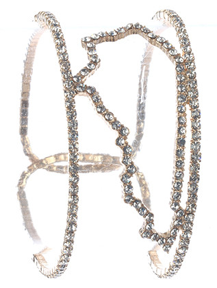 Bracelet / Pave Crystal Stone / State Of Kentucky Cuff / Double Layer / Metal Coil / 2 1/8 Inch Diameter / 1 1/8 Inch Tall / Nickel And Lead Compliant