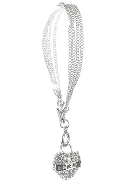 Bracelet / Pave Crystal Stone / Message Heart Charm / Love Mom / Hollow Cutout Metal / Link / Multi Chain / Toggle Closure / 7 1/2 Inch Long / 1 1/2 Inch Drop / Nickel And Lead Compliant