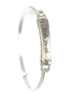 Bracelet / Matte Finish / Message Plate Bangle / Take Pride / Layered / Hammered / Two Tone / Wire Wrapped / Hook Closure / 2 1/2 Inch Diameter / 1/3 Inch Tall / Nickel And Lead Compliant