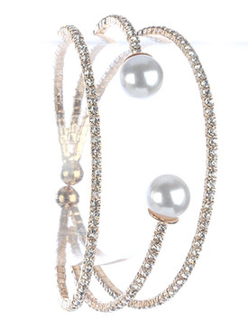 Bracelet / Pave Crystal Stone / Layered Metal Cuff / Double Pearl / Coil / 2 1/8 Inch Diameter / 1 Inch Tall / Nickel And Lead Compliant