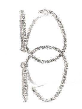 Bracelet / Pave Crystal Stone / Intercrossed Metal Cuff / Coil / 2 1/4 Inch Diameter / 1 1/8 Inch Tall / Nickel And Lead Compliant