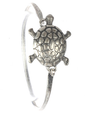 Bracelet / Aged Finish Metal / Turtle Bangle / Hook Closure / 2 1/3 Inch Diameter / 1 Inch Tall / Nickel And Lead Compliant