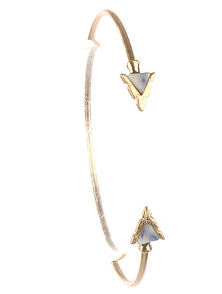 Bracelet / Triangular Natural Stone / Arrowhead Wire Cuff / Matte Finish Metal / 2 1/3 Inch Diameter / Nickel And Lead Compliant