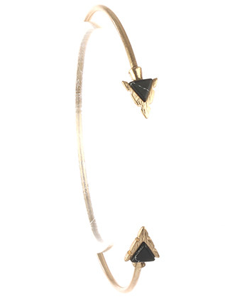 Bracelet / Triangular Natural Stone / Arrowhead Wire Cuff / Matte Finish Metal / 2 1/3 Inch Diameter / Nickel And Lead Compliant
