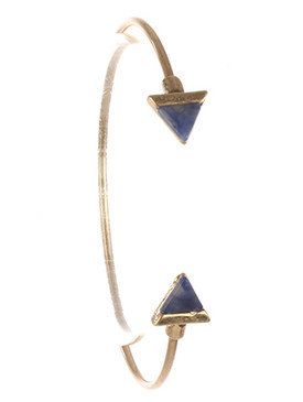Bracelet / Triangular Natural Stone / Wire Cuff / Matte Finish Metal / 2 1/3 Inch Diameter / Nickel And Lead Compliant