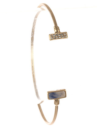 Bracelet / Natural Stone / Wire Cuff / Pave Crystal Stone / Matte Finish Metal / 2 1/3 Inch Diameter / Nickel And Lead Compliant