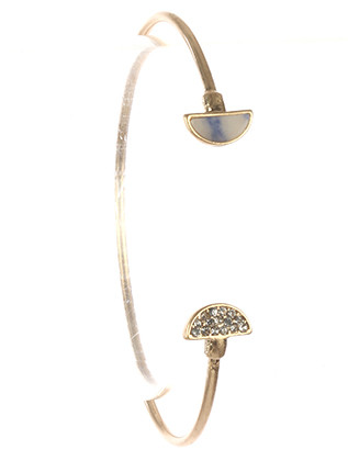 Bracelet / Half Moon Natural Stone / Wire Cuff / Pave Crystal Stone / Matte Finish Metal / 2 1/3 Inch Diameter / Nickel And Lead Compliant