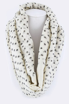Mini Skull Dots Large Fashion Scarf - Ivory