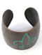Bracelet / Fleur De Lis / Textured Metal Cuff / Hammered / Aged Finish / Convex / 2 1/4 Inch Diameter / 2 Inch Tall / Nickel And Lead Compliant