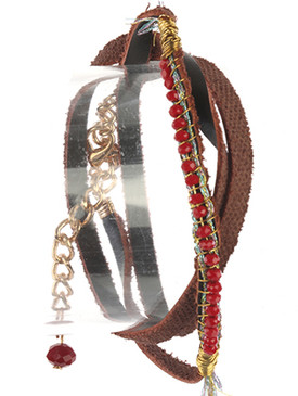 Bracelet / Iridescent Glass Bead / Faux Leather Wraparound / Wire Wrapped / Metallic Thread / 20 Inch Long / Nickel And Lead Compliant