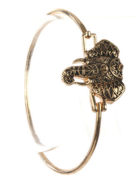 Bracelet / Aged Finish Metal / Elephant Head Bangle / Hindu / Crystal Stone / Hook Closure / 2 1/4 Inch Diameter / 1 Inch Tall / Nickel And Lead Compliant