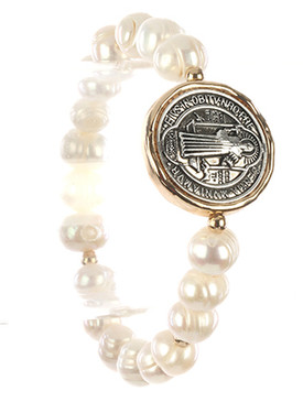 Bracelet / Religious Medallion / Pearl Stretch / Metallic Bead / Two Tone / Hammered / 2 1/4 Inch Diameter / 1 Inch Tall / Nickel And Lead Compliant