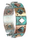 Bracelet / Aged Finish Metal / Deck Of Cards Stretch / Heart / Clubs / Spade / Diamond / Hammered / Multi Tone / 2 1/4 Inch Diameter / 7/8 Inch Tall / Nickel And Lead Compliant