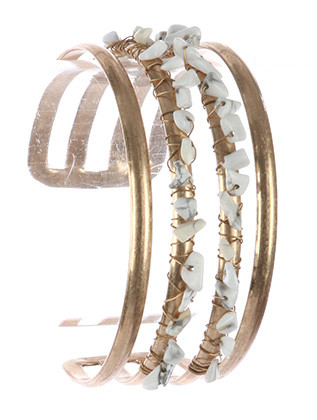 Bracelet / Natural Stone Chip Cluster / Layered Metal Cuff / Matte Finish / Cutout / Wire Wrapped / 2 1/2 Inch Diameter / 1 Inch Tall / Nickel And Lead Compliant