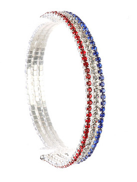 Bracelet / Red White And Blue / Rhinestone Coil / 2 Inch Diameter / 1/4 Inch Tall / Nickel And Lead Compliant