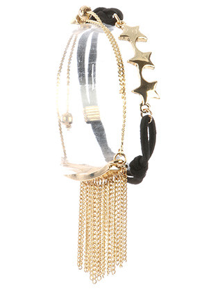 Bracelet / 2 Pc / Adjustable / Chain Fringe / Metal Bar / Serpentine Chain / Triple Star / Stretchable / Toggle Closure / Doubles As Hair Tie / 2 1/4 Inch Diameter / Nickel And Lead Compliant