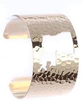Bracelet / State Of Louisiana / Hammered Metal Cuff / Cutout / 2 1/4 Inch Diameter / 1 1/2 Inch Tall / Nickel And Lead Compliant