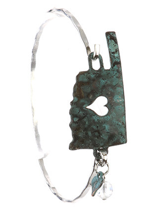 Bracelet / Aged Finish Metal / State Of Oklahoma / Heart Cutout / Hammered / Glass Bead Charm / Hook Closure / 2 5/8 Inch Diameter / 7/8 Inch Tall / Nickel And Lead Compliant