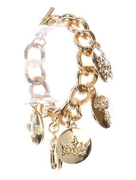 Bracelet / Metal Coin Charm / Chunky Chain / Crystal Stone / Fleur De Lis / Rose / Crown / Key / Clock Face / Link / Curb Chain / Toggle Closure / 8 Inch Long / 1 1/2 Inch Drop / Nickel And Lead Compliant