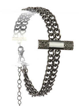 Bracelet / Pave Crystal Stone / Double Chain / Metal Bar / 8 Inch Long / 1 3/8 Inch Tall / Nickel And Lead Compliant