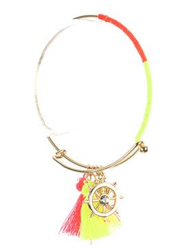 Bracelet / Shipwheel Tassel Charm / Metal Wire Bangle / Crystal Stone / Color Yarn Wrapped / Hook Closure / 2 5/8 Inch Diameter / 1 1/3 Inch Drop / Nickel And Lead Compliant