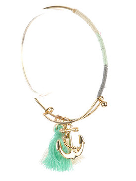 Bracelet / Anchor Tassel Charm / Metal Wire Bangle / Crystal Stone / Color Yarn Wrapped / Hook Closure / 2 5/8 Inch Diameter / 1 1/3 Inch Drop / Nickel And Lead Compliant
