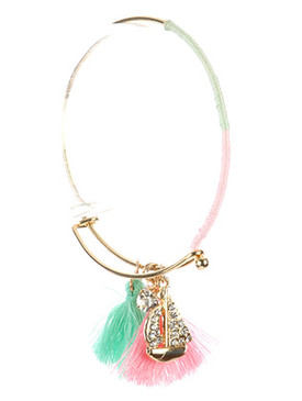 Bracelet / Sailboat Tassel Charm / Metal Wire Bangle / Crystal Stone / Color Yarn Wrapped / Hook Closure / 2 5/8 Inch Diameter / 1 1/3 Inch Drop / Nickel And Lead Compliant
