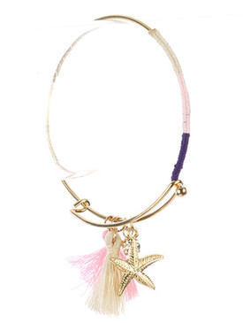 Bracelet / Starfish Tassel Charm / Metal Wire Bangle / Crystal Stone / Color Yarn Wrapped / Hook Closure / 2 5/8 Inch Diameter / 1 1/3 Inch Drop / Nickel And Lead Compliant