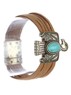 Bracelet / Metal Thunderbird / Faux Suede / Natural Stone / Multi Strand / Aged Finish / Tribal Pattern Etched / Magnetic Closure / 8 Inch Long / 1 1/3 Inch Tall / Nickel And Lead Compliant