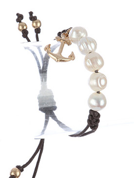 Bracelet / Metal Seashell Charm / Adjustable Pearl / Braided Double Cord / Starfish Etch / Matte Finish / Metallic Bead / 2 Inch Diameter / 3/4 Inch Drop / Nickel And Lead Compliant