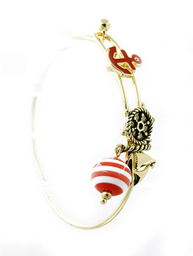 Bracelet / Nautical Message Charm / Metal Wire Bangle / Hope / Murano Glass Bead / Anchor / Shipwheel / Sailboat / Aged Finish / Textured / Hook Closure / 2 3/8 Inch Diameter / 1 Inch Drop / Nickel And Lead Compliant