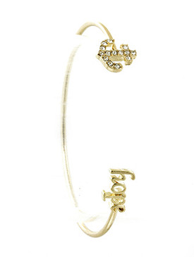 Bracelet / Message / Metal Wire Cuff / Hope / Anchor / Pave Crystal Stone / 2 1/8 Inch Diameter / 1/3 Inch Tall / Nickel And Lead Compliant