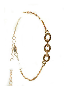 Bracelet / Pave Crystal Stone / Metal Link Chain / 7 Inch Long / 1/4 Inch Tall / Nickel And Lead Compliant