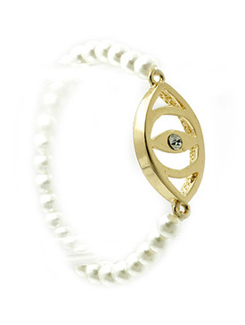 Bracelet / Metal Evil Eye / Pearl Stretch / Crystal Stone / 2 1/3 Inch Diameter / 2/3 Inch Tall / Nickel And Lead Compliant
