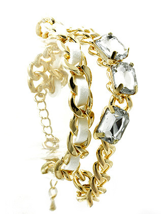 Bracelet / Interlaced Faux Suede / Double Chain / Glass Stone / Metal Link / Curb Chain / 7 Inch Long / 7/8 Inch Tall / Nickel And Lead Compliant
