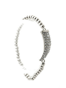 Bracelet / Pave Crystal Stone / Metallic Bead Stretch / Metal Tusk / 2 1/4 Inch Diameter / 1/3 Inch Tall / Nickel And Lead Compliant