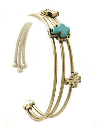 Bracelet / Cross / Bangle / Natural Stone / Matte Finish / Metal Bead / 3 Pcs / 2 1/2 Inch Diameter / Nickel And Lead Compliant