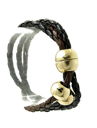 Bracelet / Three Strand / Braided Faux Leather / Metal Bead / Magnetic Closure / 7 1/2 Inch Long / Nickel And Lead Compliant
