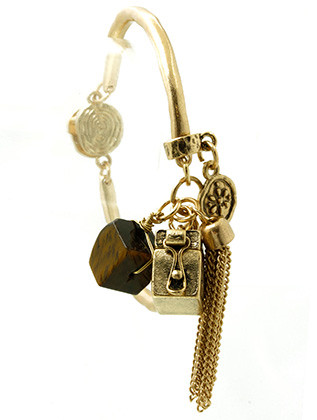 Bracelet / Hammered Segmented Metal / Charm / Matte / Aged Finish / Natural Stone / Floral Pattern / Dove Etch / Box / Chain Tassel / Magnetic Closure / 2 1/4 Inch Diameter / 2 Inch Drop / Nickel And Lead Compliant